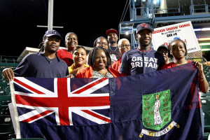 "Nateshon ""Shadow"" Thomas with BVI Tourist Board members in New York, who supported him during the World Baseball Classic qualifier in Brooklyn"