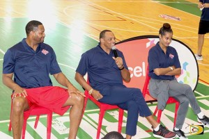 1977 NBA champ and ex Brooklyn Nets coach Lionel Hollins, center, Seven times NBA champ Robert Horry, left, and WNBA Dallas Stars Skylar Diggins share their experiences with young players