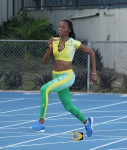 Chantel Malone running on the A. O. Shirley Grounds during a photo shoot as a Digicel Brand Ambassador