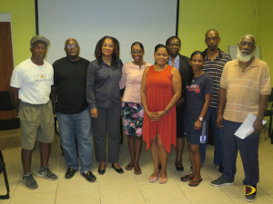 "Newly elected BVI Softball Association Executive Committee. L-R: Terry ""Chino"" Chinnery, Glenford ""Chappy"" Maduro, Rose Adams, Bria Smith, Faith Maduro, Sarah Potter-Washington, Dencia Hodge, Allen ""Woodrow"" Smith and Arnold Lettsome"