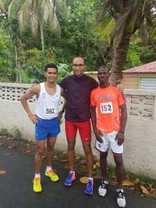 Reuben Stoby, left, Clif Stricken and Julius Farley, who were the top three in Saturday's Blenheim Trust 5K Series race in Carrot Bay. Photo, courtesy of Reuben Stoby