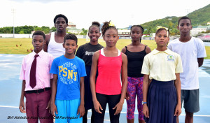The BVI's NACAC Age Group Championships team: L-R; Kishawn Martin,  Malaki Smith,  Delano Hodge,  Ariyah Smith,  Aniya Findlay, Akeela McMaster, Azariah Christopher and  Jelani Croal. PHOTO: Cleave M. Farrington